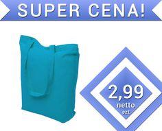 Turkusowa torba bawełniana błękitna torebka 220g
