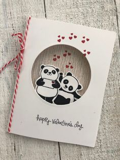 Here's another Party Panda card for you.I just love this happy set! I punched a 2 circle in the center of the card. Then I stamped the bears separately and cut them out and attach Valentine Day Cards, Holiday Cards, Valentines, Cumpleaños Diy, Panda Party, Card Patterns, Love Cards, Up Girl, Kids Cards