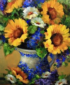 Sold while still on the easel! Yay! Blue Sunday Sunflowers and Larkspur, 16X20 www.nancymedina.com