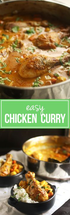 Have dinner on the table in no time with this easy chicken curry recipe! A simple coconut curry sauce with chicken, carrots, and potatoes for a quick meal. Easy Chicken Curry, Easy Chicken Recipes, Chicken Receipe, Coconut Chicken, Healthy Chicken, Quick Meals, Weeknight Meals, Indian Food Recipes, Asian Recipes