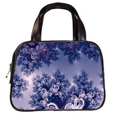Pink and Blue Morning Frost Fractal Classic Handbag (Two Sides) from CowCow.com Front...#purses #bags #fractals #pink #blue #RoseSantuciSofranko #Artists4God #frost #Winter #designer #cowcow