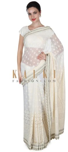 Buy this White saree in thread and pearl embroidery only on Kalki