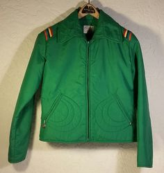 Vintage Retro 70s Roffe Skiwear Ski Jacket USA Made Green Rainbow Small Unisex