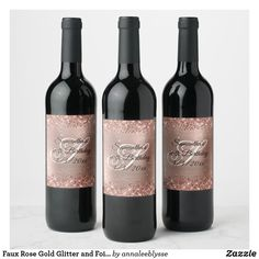 Faux Rose Gold Glitter and Foil 40th Birthday Wine Label