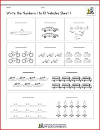 Write numbers 1 to 10 coloring sheet vehicles Write numbers 1 to 10 coloring sheet vehicles . Printable Math Worksheets, Kindergarten Math Worksheets, Math Resources, Cute Crafts, Crafts For Kids, We Are Teachers, Numbers Preschool, How To Make Toys, Kids Pages