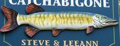 The big-as-life fish on this sign was sculpted by hand, as well as the hand carved text which was carved with hand chisels. Lake House Signs, Lake Signs, Fishing Signs, Hand Carved, Carving, Detail, Animals, Design, Animais