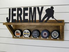 Personalized Hockey Puck Holder & Trophy Shelf by PineconeHome Hockey Trophies, Hockey Decor, Hockey Gifts, Trophy Shelf, Trophy Display, Award Display, Hockey Puck, Hockey Sticks, Hockey Mom