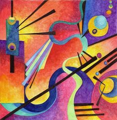 Wassily Kandinsky inspired art using color and shape to create an abstract design.
