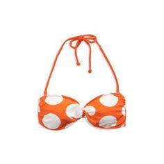 Women's AE Polka Dot Twist Bandeau Bikini (Orange) ($20) ❤ liked on Polyvore featuring swimwear, bikinis, bikini tops, bathing suits, swimsuits, swim, clothing & accessories, sleepwear, halter bikini and swim suits