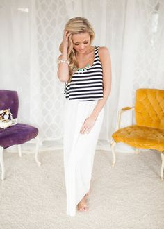 Online boutique. Best outfits. Unbelievably Stunning Striped Maxi Dress White - Modern Vintage Boutique
