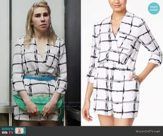 Shoshanna's white checked romper on Girls. Outfit Details: https://wornontv.net/66277/ #Girls