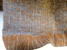 Vintage Brown Blue Tweed Wool Fabric by BonniesVintageAttic
