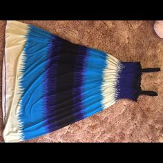 Black blue and white striped dress Super cute dress tag says large but fits like a small Dresses