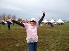 Pictured Sue,  at the South Suburban Making Strides Against Breast Cancer 5k walk .