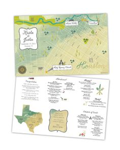 Custom Wedding Map -- Houston, TX  A custom wedding map is essential for your wedding invitation suite or as a drop off in your guests' hotel room!  See more here: https://www.etsy.com/listing/245941675/houston-texas-11x17-folded-brochure?ref=shop_home_active_1