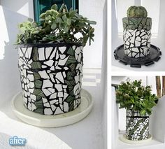 old paint and olive oil cans recycled into plant pots with mosaic glass