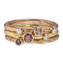 Sarah Graham 18K Gold, Mixed Diamond Stacking Ring Set