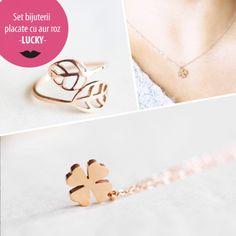 Set bijuterii placate cu aur roz - LUCKY - MSM-Shop