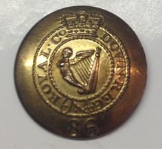 Victorian 86th Royal County Down regiment of foot Officers button.