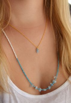 Aquamarine and gold layered necklace - dual layered, multi stranded, £15 Forget-Me-Not Gallery