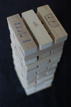 musical Jenga grade-- so many possibilities! one side is harder than the other for more advanced musical students. Piano Lessons, Music Lessons, Singing Lessons, Singing Tips, Piano Y Violin, Piano Keys, Piano Games, Music Games, Music Theory Games