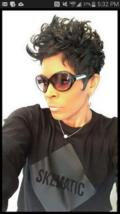 Hall rocking the cute cut and shades! Cute Hairstyles For Short Hair, My Hairstyle, Curly Hair Styles, Natural Hair Styles, Short Sassy Hair, Short Hair Cuts, Pixie Cuts, Short Pixie, Corte Y Color