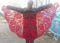Crochet triangle red scarf shawl  mohair and by CrochetZone