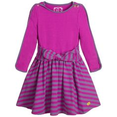 Girls purple stripe long-sleeved dress by Deux Par Deux. Made in a soft cotton jersey it has a bow tie at the front and a lime green diamanté appliqué mask at the hem.
