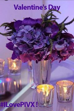 purple bouquet, and candlelight Purple Love, All Things Purple, Purple Lilac, Shades Of Purple, Purple Flowers, Purple Hydrangeas, Hydrangea Bouquet, Deep Purple, Pink