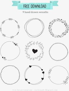 Tutoriel - Handgezeichneter Kranz Télécharger (Totally Tutorials) - Lilly is Love Wreath Drawing, Logo Design, Graphic Design, Bullet Journal Inspiration, Craft Tutorials, Doodle Art, Doodle Frames, Embroidery Patterns, Zentangle Patterns
