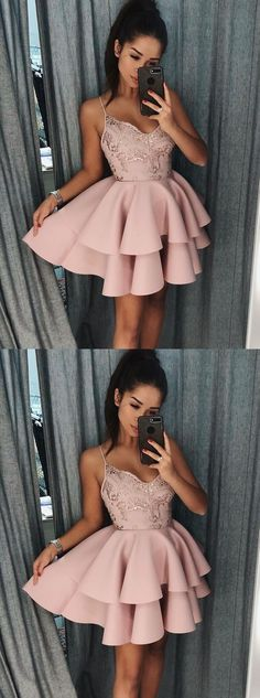 Pink v neck lace short prom dress, homecoming dress, Shop plus-sized prom dresses for curvy figures and plus-size party dresses. Ball gowns for prom in plus sizes and short plus-sized prom dresses for Hoco Dresses, Dance Dresses, Pretty Dresses, Beautiful Dresses, Formal Dresses, Dress Prom, Pink Dresses, Satin Dresses, Mode Rose