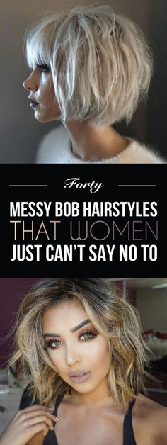 40 Messy Bob Hairstyles That Women Just Can't Say No To – - Balayage Haare Blond Kurz Messy Bob Hairstyles, Blonde Haircuts, Short Hairstyles For Women, Trendy Hairstyles, Hairstyle Short, Short Undercut, Hairstyles Haircuts, Pixie Haircuts, Celebrity Hairstyles