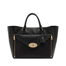 Mulberry Tote Black Ostrich with Soft Gold