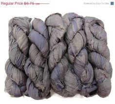 SALE Premium Recycled Sari Silk Ribbon Silver / by SilkDivine