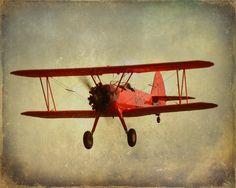 Vintage Antique Red Airplane Art Print - Nursery Boy Childrens Room Decor Aviation Biplane Flying Gray Photograph. $25.00, via Etsy.