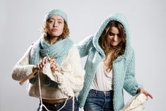Morgane Mathieu and model Nadja Settel - Knitting kits collections WE ARE KNITTERS by Morgane Mathieu