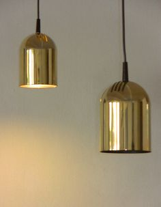 Pair of Gold Plated Pendant Lamps Bar Lamps from by AmsterdamFinds
