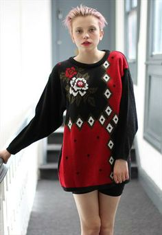 80's Vintage slouchy Patterned rose jumper from Pretty Disturbia £22