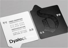 Business card by TOI Design for Dyalect - custom die cut + punch out with matte + gloss