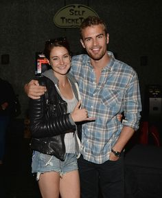 Shailene Woodley and actor Theo James attend Summit Entertainment And Allittakes.Org's Private Screening Of 'Divergent' at Muvico Theaters Thousand Oaks 14 on March 17, 2014 in Thousand Oaks, California. (Photo by Jason Kempin/Getty Images)