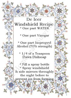 De Icer Windshield Recipe – Winter Vehicle Maintenance The Homestead Survival Homesteading