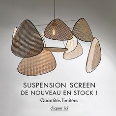 Suspension cannée Screen Diy Interior, Interior Lighting, Interior Design, Shop Lighting, Lighting Design, Maison Nordik, Flower Lamp, Looks Vintage, Lamp Light