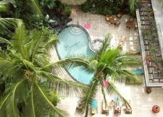Aerial view of the pool and sundeck at Aqua Bamboo Waikiki. Talk about paradise!