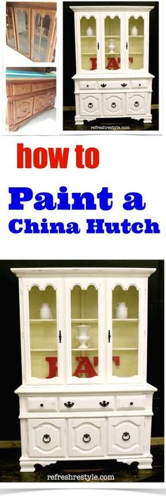 How to paint a China Hutch -Do it yourself - Upcycle an brown china hutch #paintedfurniture #diyproject #chinahutch