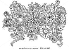 Floral doodle. Flower hand drawing vector. Black and white design elements. - stock vector