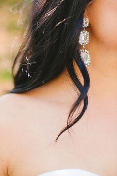 gorgeous drop #earrings for the Bride from http://www.hautebride.com, Photography by gladysjem.com   Read more - http://www.stylemepretty.com/2011/09/12/boho-chic-inspiration-shoot-by-brienne-michelle-photography/