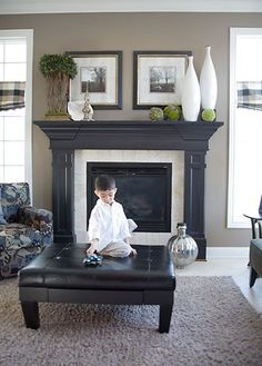 I am doing this to my mantle - South of Grand Fireplace - Grand Homes & Renovati. Living Room Remodel Before and After - Diy Home Decor Crafts Painted Fireplace Mantels, Grey Fireplace, Paint Fireplace, Home Fireplace, Fireplace Surrounds, Fireplace Design, Painted Mantle, Fireplace Makeovers, Stone Fireplaces