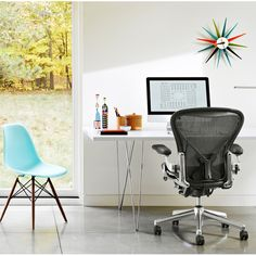 Shop modern office chairs at the Herman Miller Official Store. Find an award-winning ergonomic task chair or desk chair designed to help you work better. Teal Dining Chairs, Modern Office Desk, Herman Miller Aeron Chair, Hard Floor, Chair Design, The Help, House Design, Interior Design, Furniture