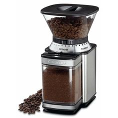 The elegant brushed stainless steel Cuisinart burr mill boasts 18 levels to grind your coffee beans, from ultra-fine to extra-coarse. - Burr grinding provides uniform grind and optimum flavor. - grind selector - from ultra-fine to extra-coarse. Best Coffee Grinder, Manual Coffee Grinder, Coffee Brewer, Coffee Maker, Coffee Grinders, Coffee Percolator, Chefs, Café Espresso, Coffee Type