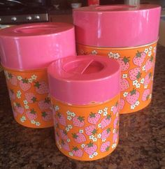 Mid Century Pink Orange Lorrie Design Strawberry Lidded Canister Set by VintageWhiskyCowgirl on Etsy https://www.etsy.com/listing/291175159/mid-century-pink-orange-lorrie-design